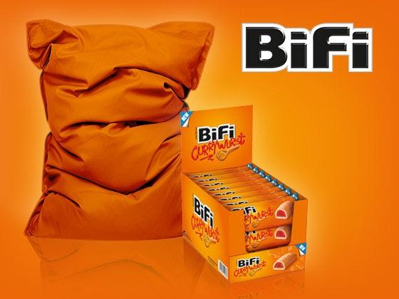 Bifi currywurst und sitzsack
