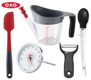 Oxo peeler turkey baster thermometer spatula competition
