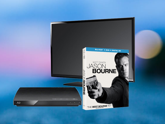 Jason Bourne with Flatscreen TV and Blu-ray Player sweepstakes