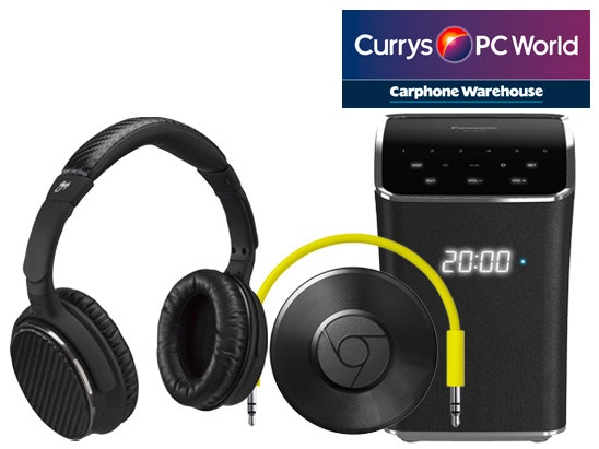 Panasonic Wireless Smart Sound Multi-Room Speaker, Goji Collection Wireless Bluetooth Noise-Cancelling Headphones and a Google Chromecast Audio sweepstakes
