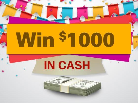 $1000 Cash January 2017 sweepstakes