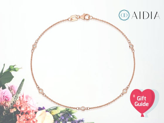 Valentine's Gift Guide: AIDIA Rose Gold Station Bracelet with Diamonds sweepstakes