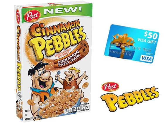 $50 Visa Gift Card + a box of Cinnamon Pebbles sweepstakes