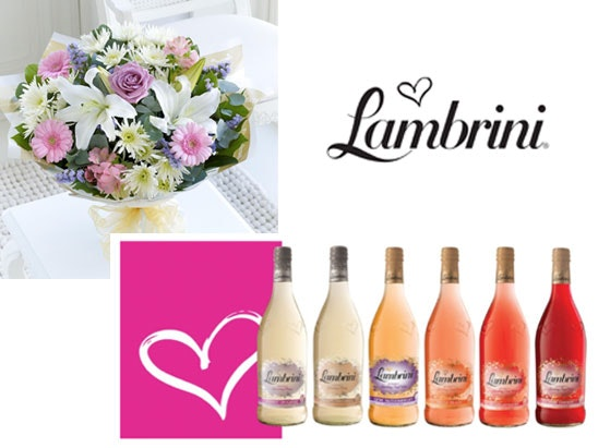 a bouquet of flowers and the full Lambrini range  sweepstakes