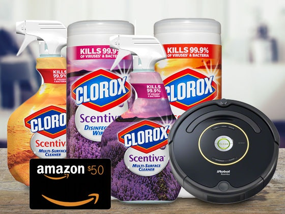 Clorox Prize Pack, an iRobot Roomba 650, and $50 Amazon Gift Card sweepstakes
