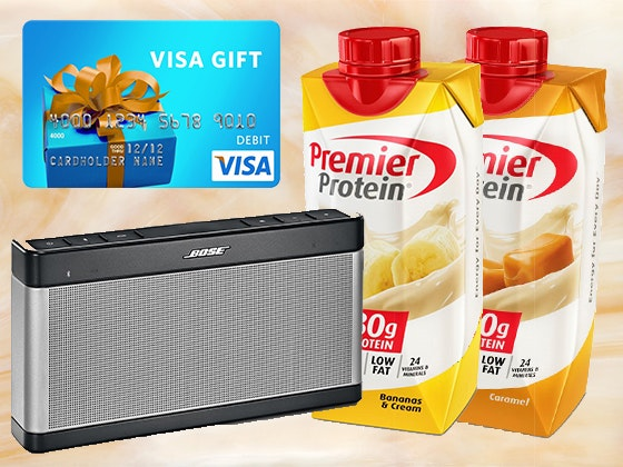 Premier Protein Prize Pack, Bose Bluetooth Sound Link Speaker, and $300 Visa Card sweepstakes