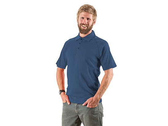 Mens EDZ Merino polo shirt sweepstakes