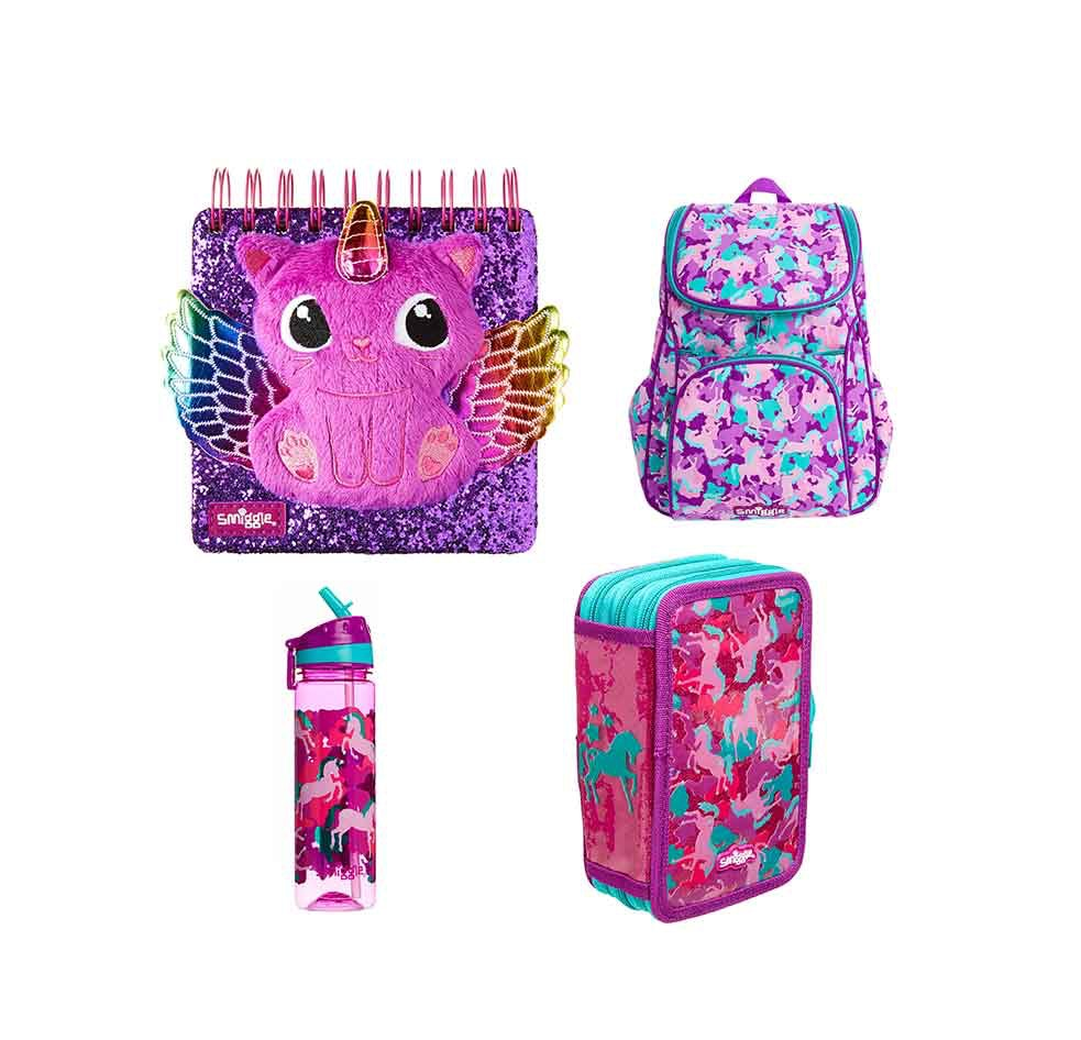 Smiggle water bottle, backpack, notepad and pencil case bundle sweepstakes
