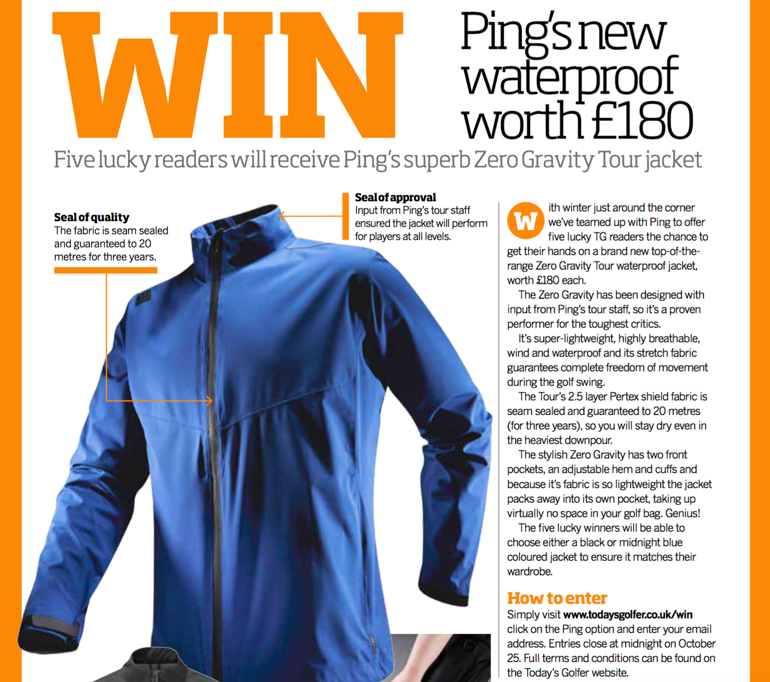 WIN Ping's new waterproof  sweepstakes