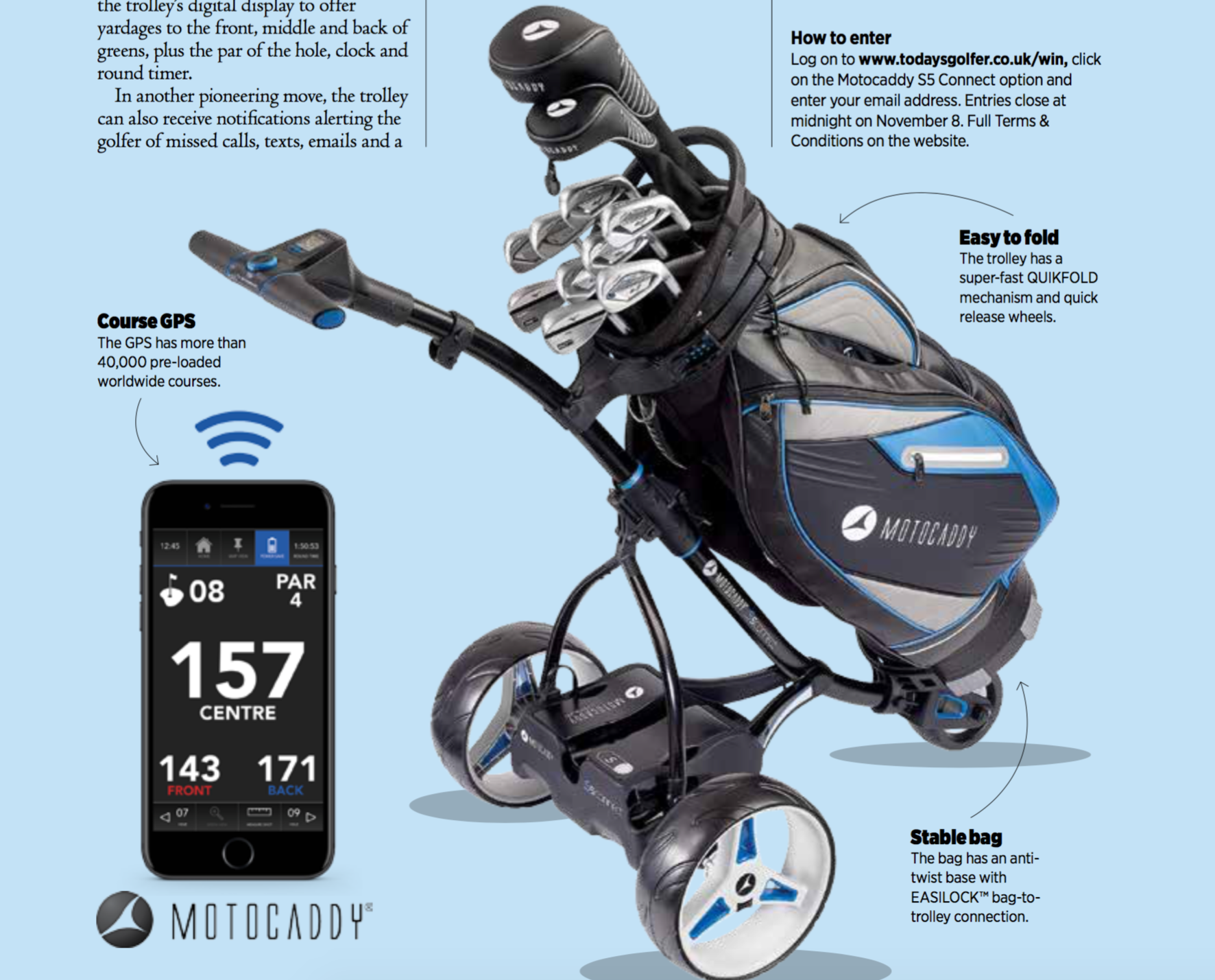 WIN A MOTOCADDY S5 CONNECT TROLLEY sweepstakes