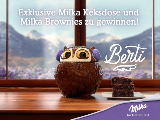 Gewinne die exklusive Milka Keksdose Berti Gewinnspiel