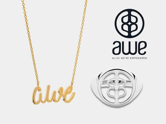 AWE Diamond Signet Ring and a Cursive Necklace sweepstakes