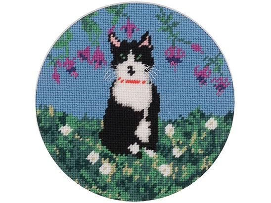 Win Cindy Lass's Celebrity 'Pawtrait' Socks the Cat as a Needlepoint Kit   sweepstakes