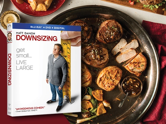 "Omaha Steaks Premier Banquet Meal Combo & ""Downsizing"" on Blu-ray Combo Pack sweepstakes"