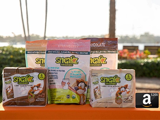 Sneakz Organic Milkshakes & Protein Powders + $200 Amazon Gift Card sweepstakes