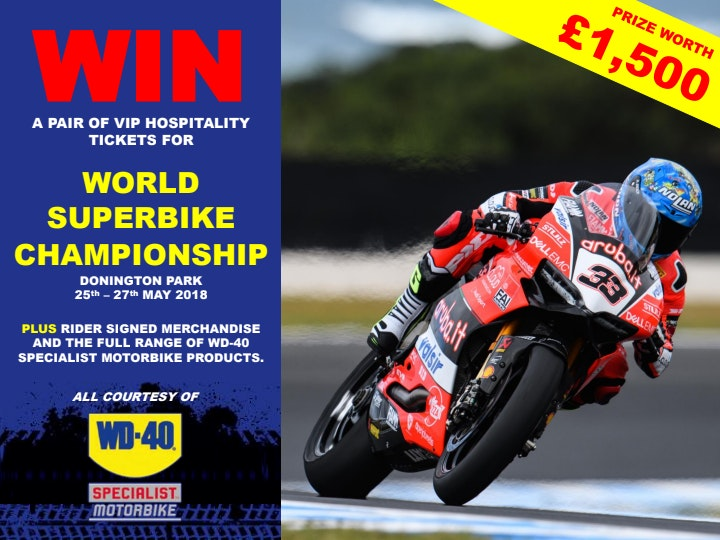 2 x weekend hospitality at WSB Donington Park + goodies sweepstakes