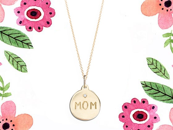 "Helen Ficalora 14k Yellow Gold ""MOM"" Necklace sweepstakes"