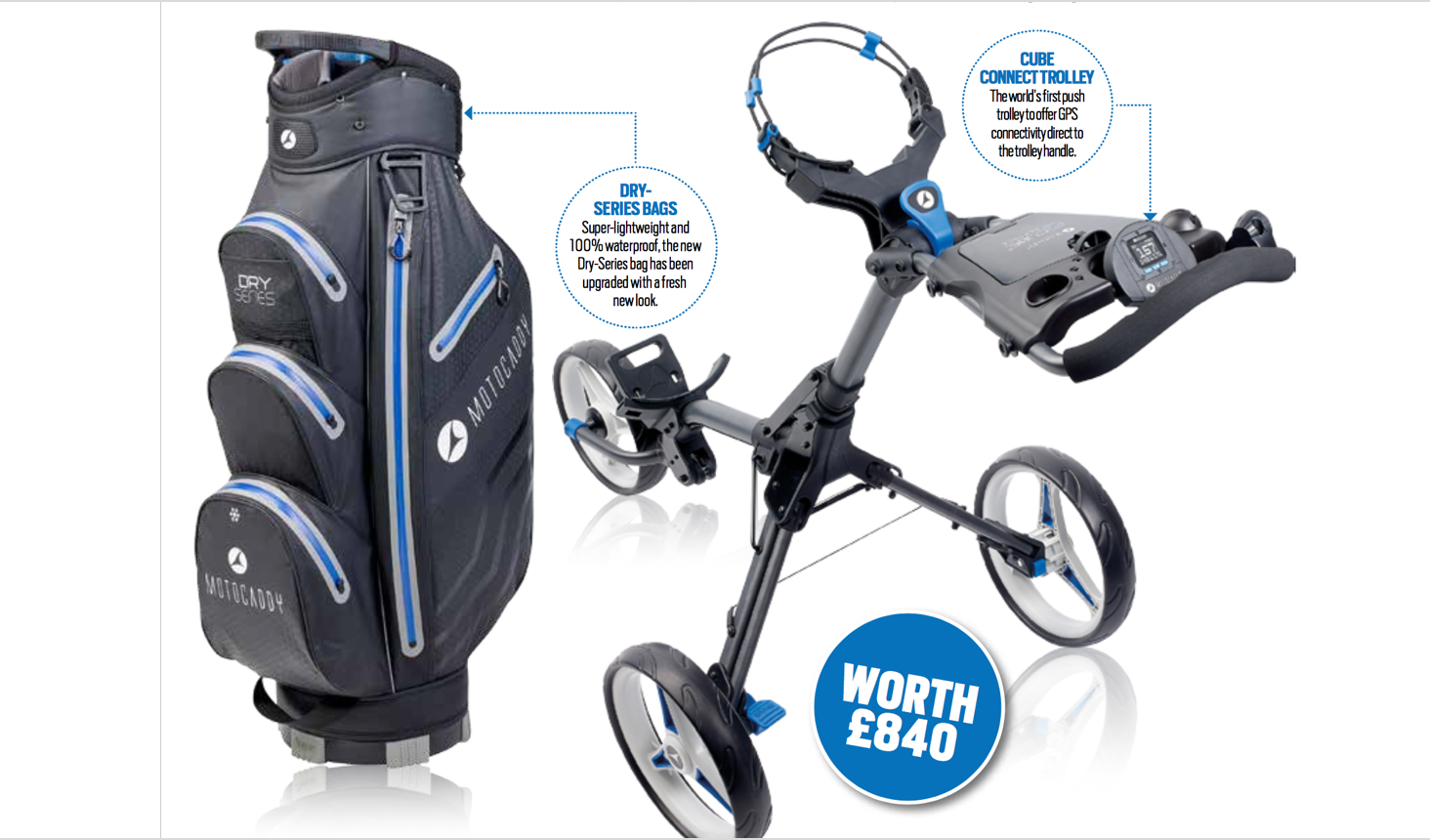 Win a Motocaddy Cube Connect, the world's first GPS push trolley sweepstakes