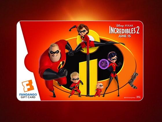 Incredibles 2 Fandango Gift Cards sweepstakes