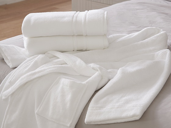Trident Hotel Collection Quick Dry Supima Cotton Bath Towels & Trident Women's Terry Cloth Robe sweepstakes