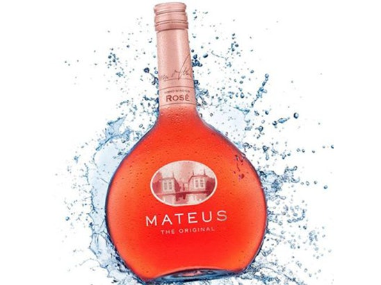 a bottle of Mateus Rosé and two glasses. sweepstakes