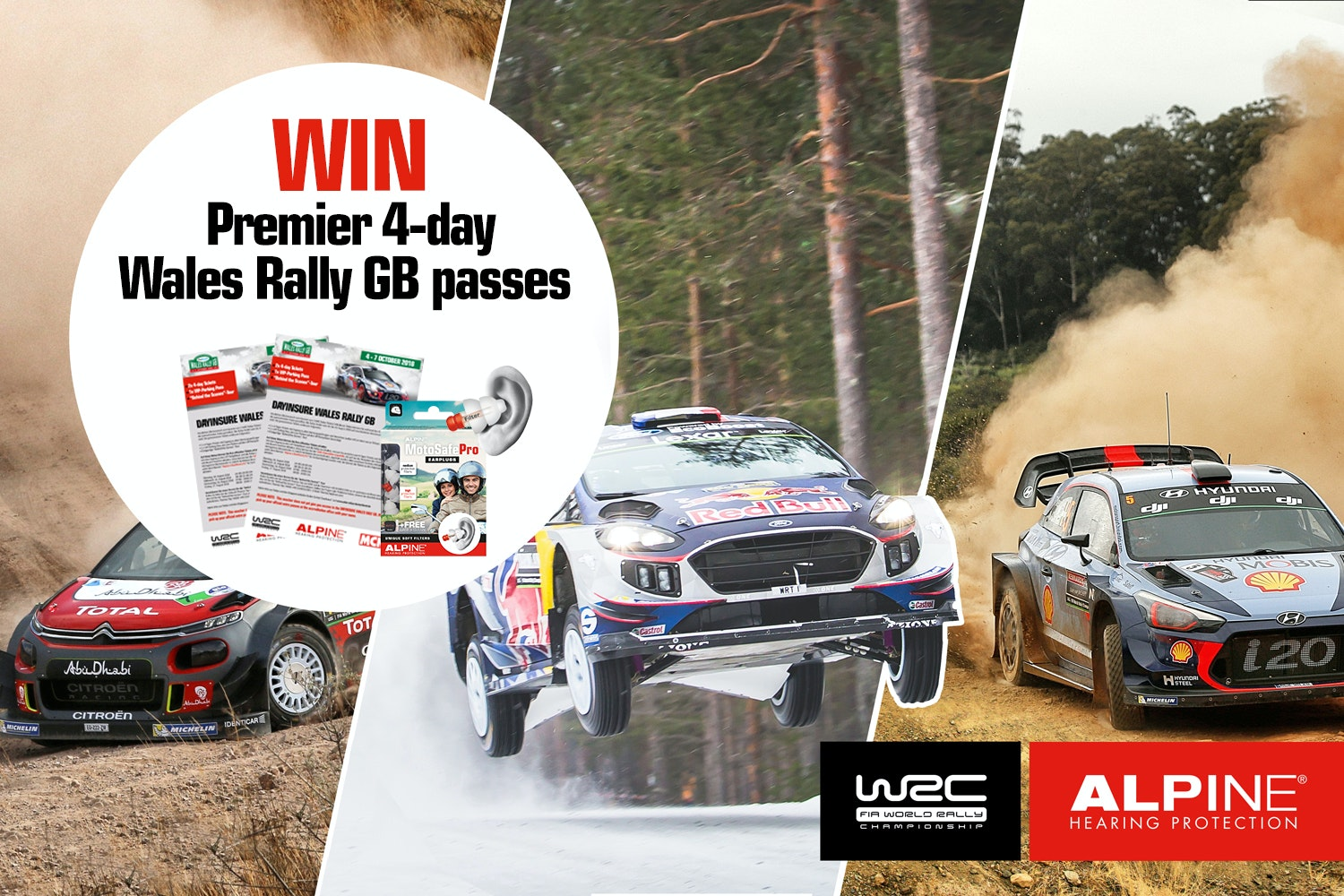 2 premier 4-day Wales Rally GB tickets + VIP tour with Alpine Hearing Protection sweepstakes