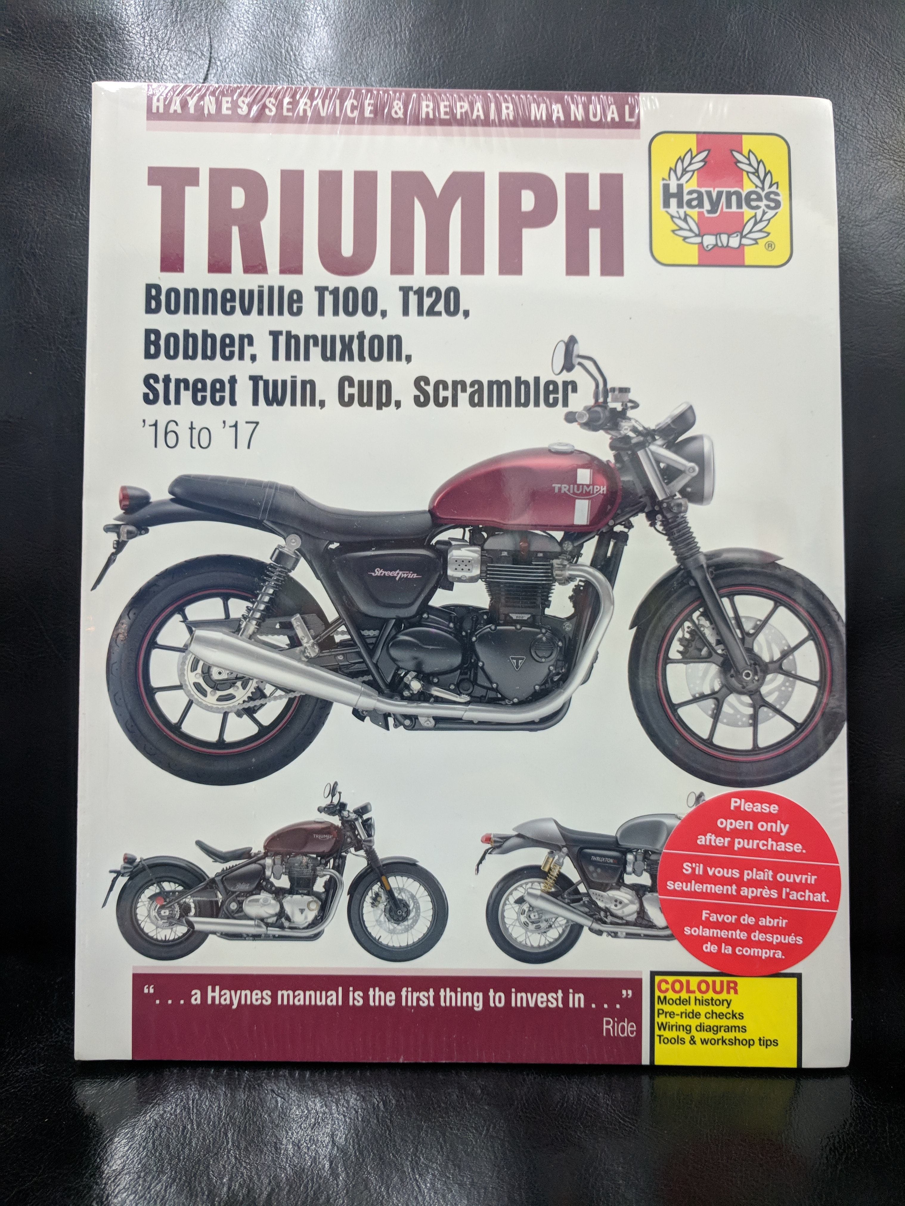 Haynes - Triumph Bonneville T100 manual sweepstakes