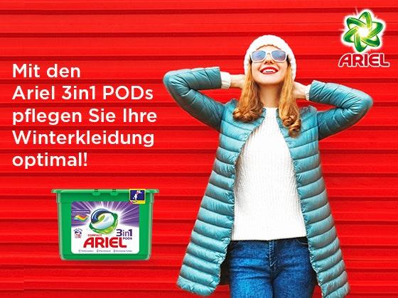 Ariel 3in1 PODs + Gutschein Gewinnspiel