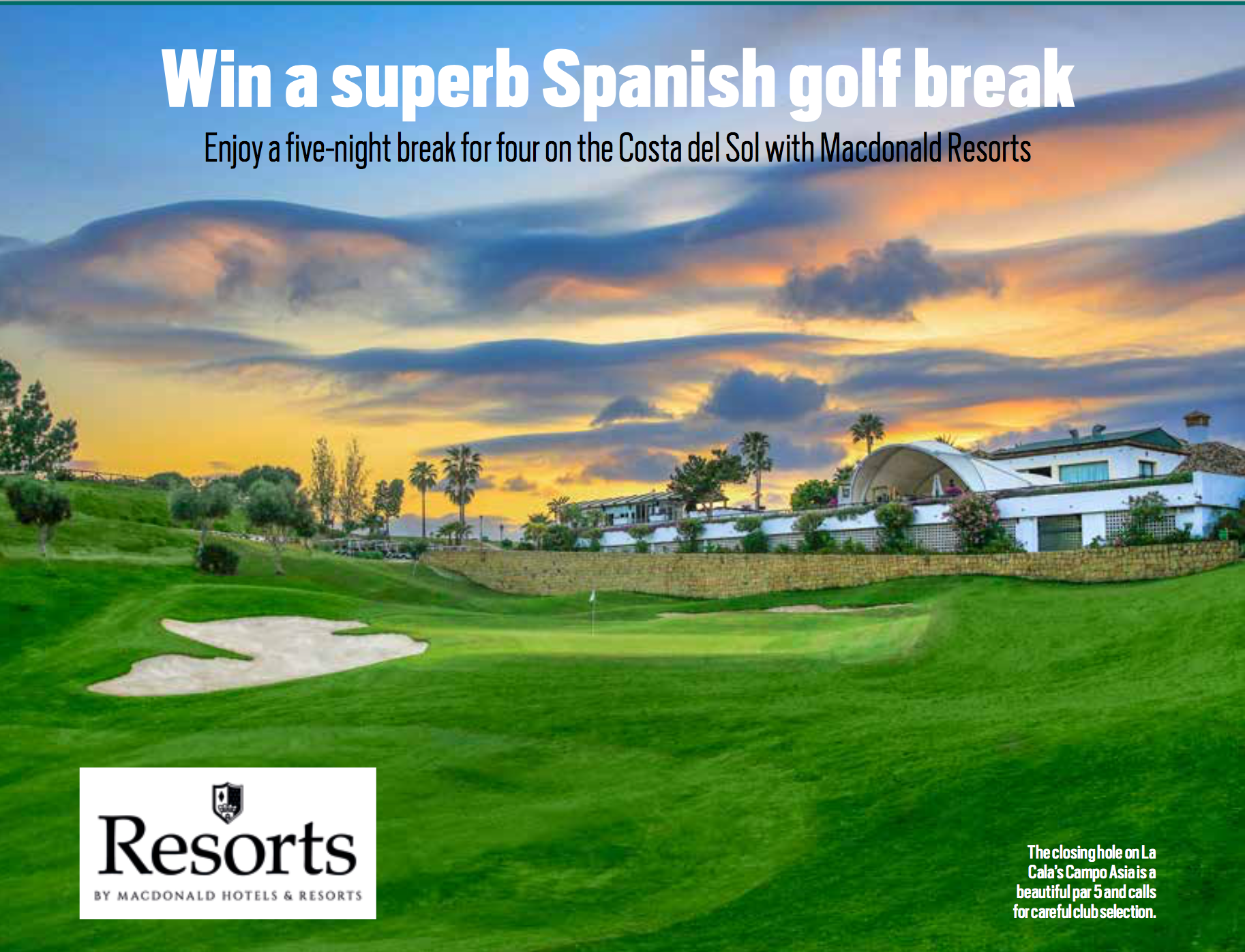 Win a superb Spanish golf break sweepstakes