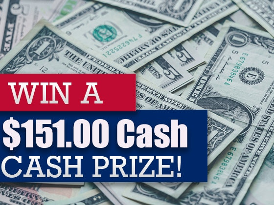 $151 Cash Prize Memorial Day 2019 sweepstakes