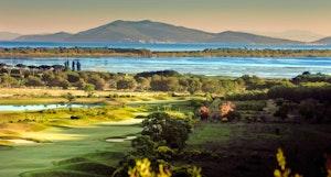 Main pic panorama of argentario golf course overlooking the orbetello lagoon