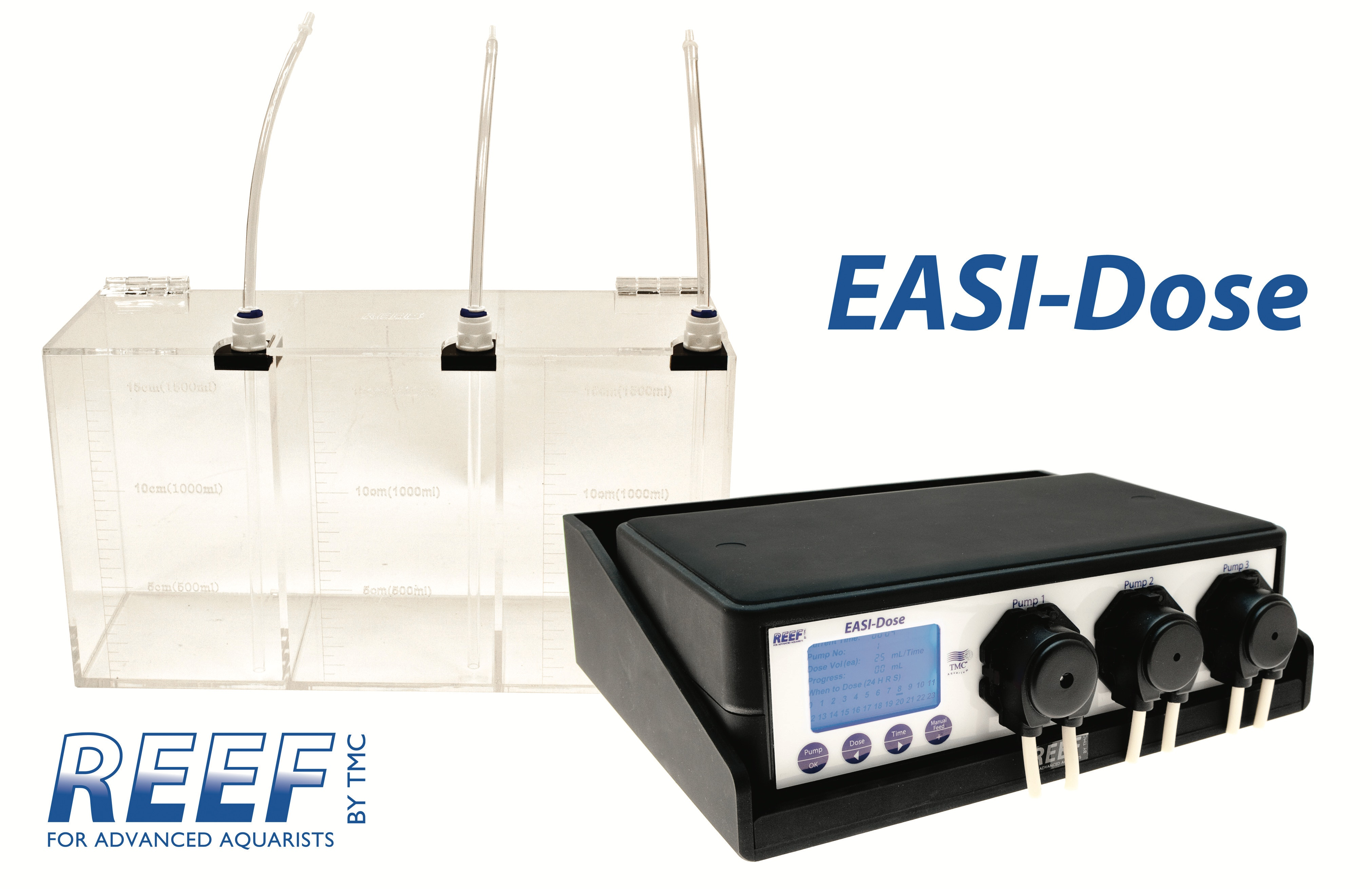 Reef easi dose 3 on shelf with dosing container plus logos