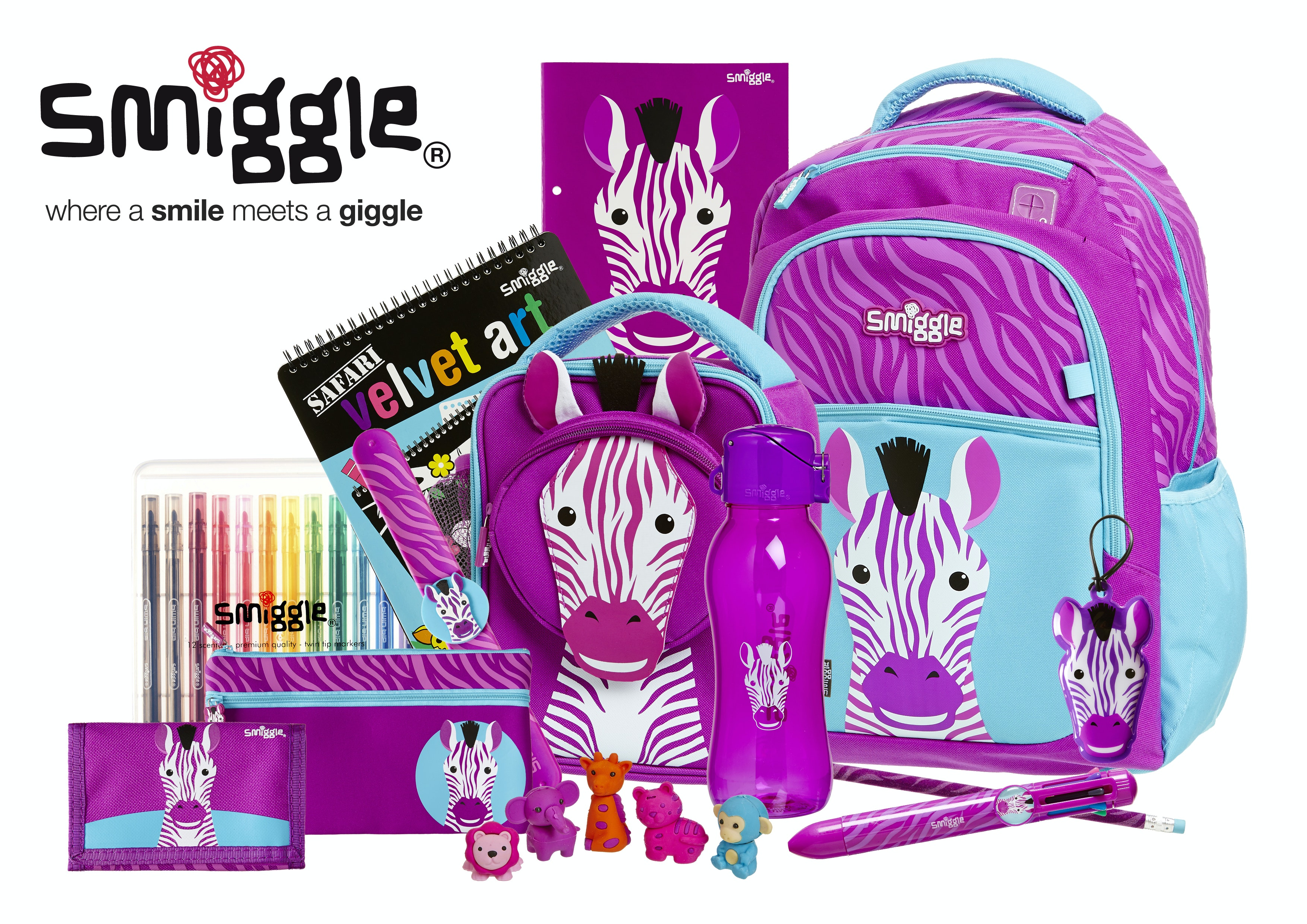 Smiggle pack 3 girl purple