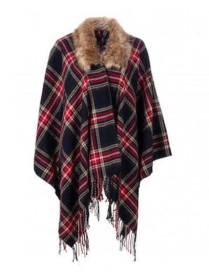 Womens blue and red tartan check fur collar shawl 24 99
