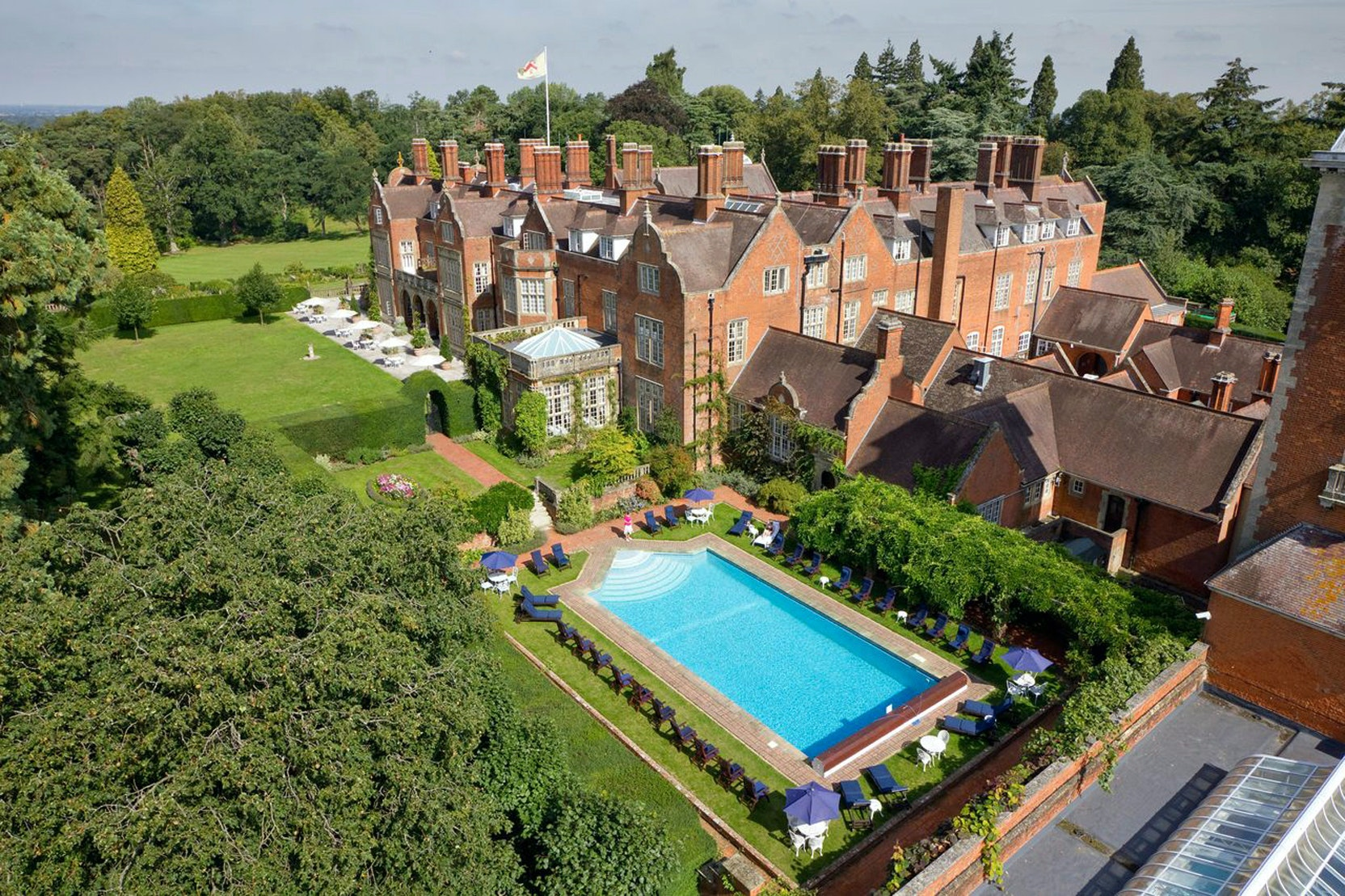 Outdoor pool aerial tylney hall