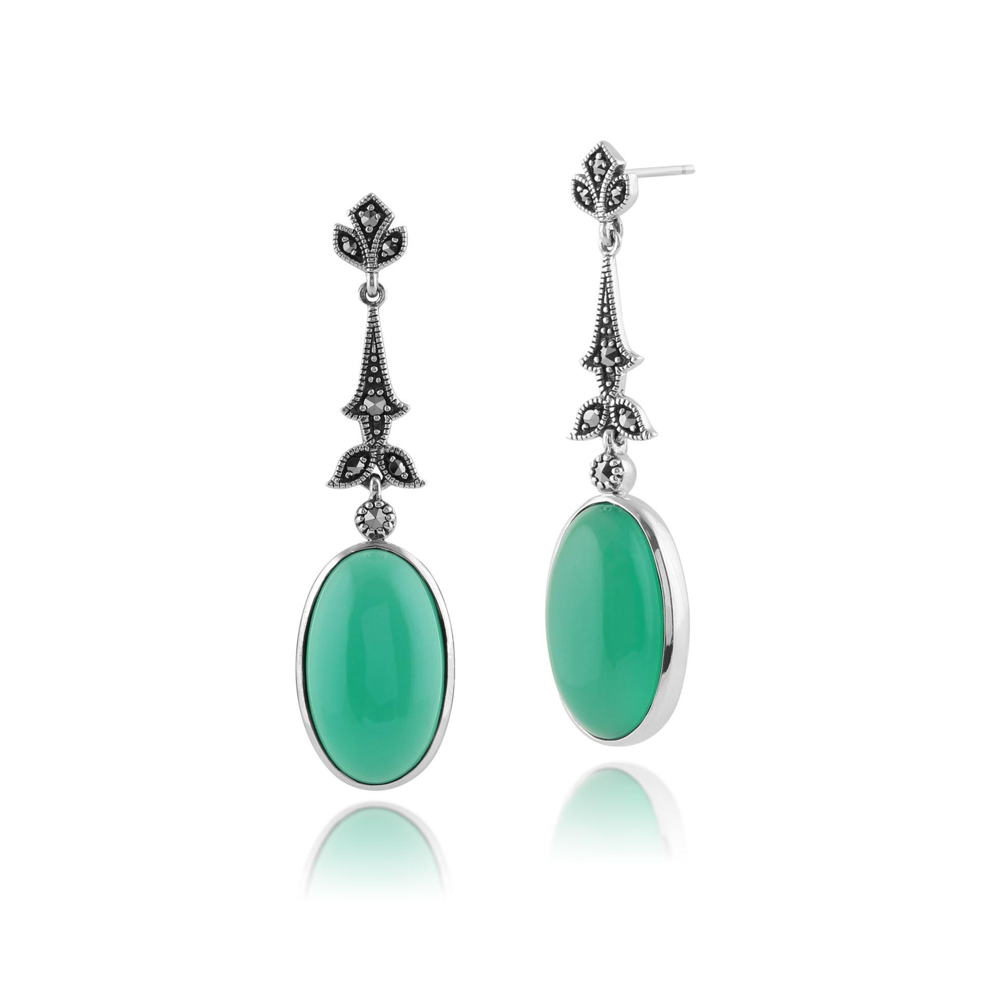 0066898 925 sterling silver green chalcedony marcasite art deco earrings 2