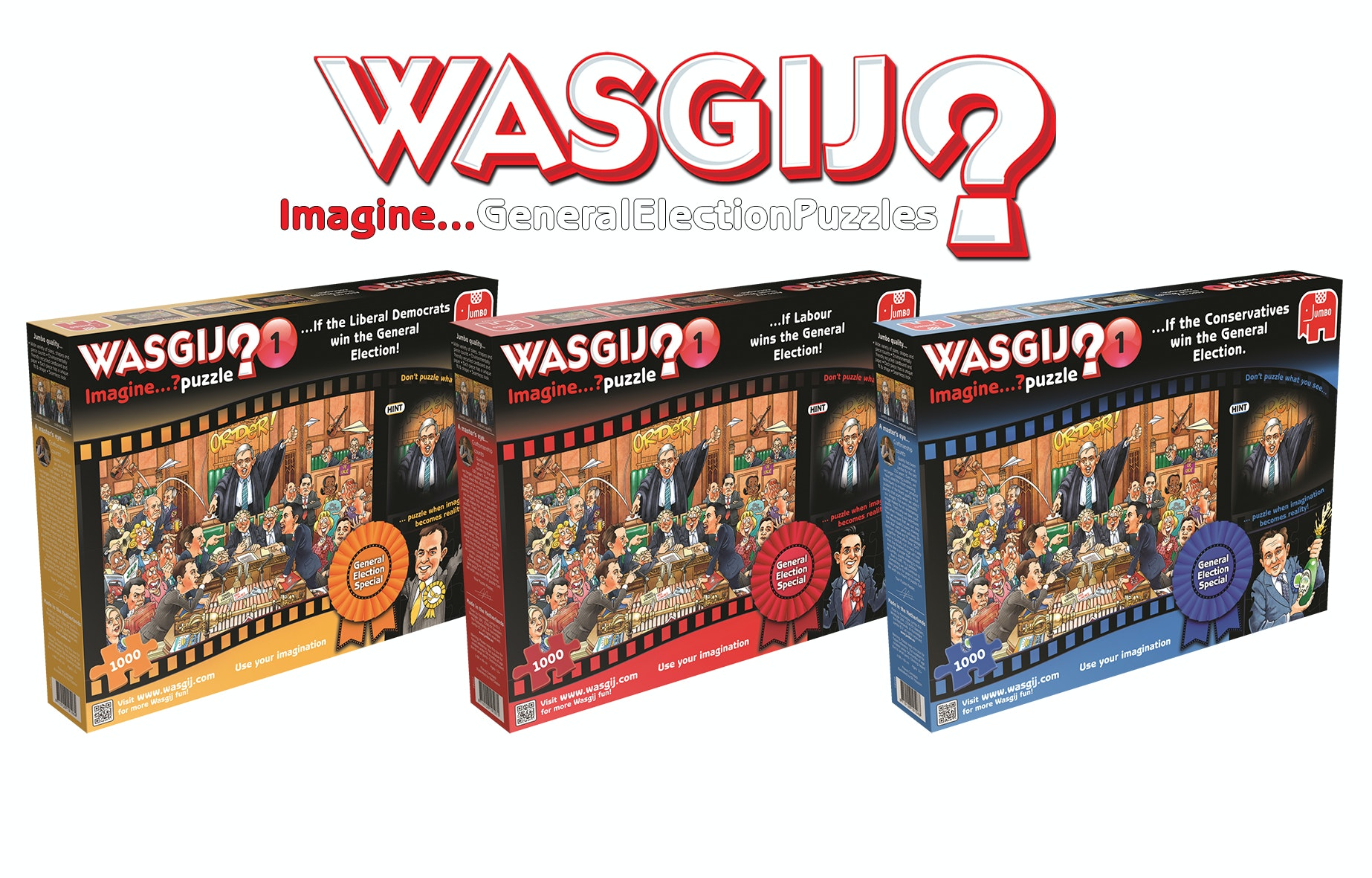 Wasgij election puzzle product images and logo
